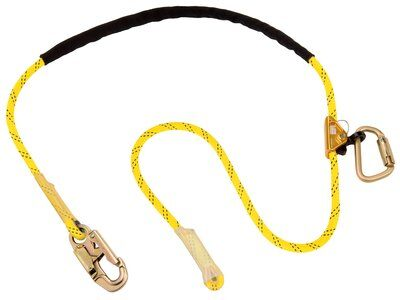 1234070 - 8 ft. (2.4m) adjustable rope positioning lanyard with snap hook at one end, rope adjuster and carabiner at other end.