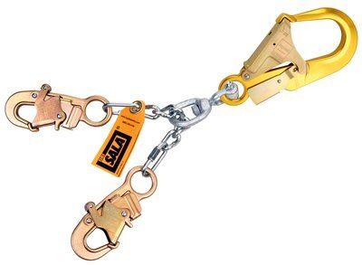 "5920051 - Chain Rebar/Positioning Lanyard, 22"" (56cm) chain rebar assembly with swiveling aluminum rebar hook at center, snap hooks at leg ends"