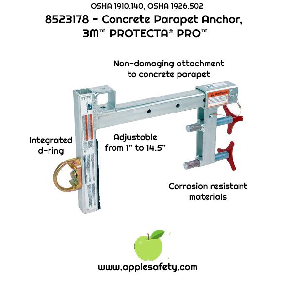 "8523178	ANCHOR,CONCRETE PARAPET	Parapet Wall Anchor, fits wall thicknesses up to 14.5""	ANCHOR DEVICES & SYSTEMS, applesafety, infographic"