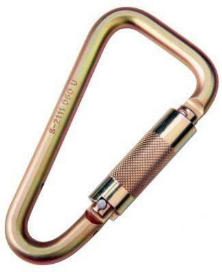 """2000113 CARABINER,1 3/16 THROAT3600lb GATE (2000106) Steel carabiner, 3600 lb. self closing/locking gate (1-3/16"""" opening) HOOKS & CARABINERS"""