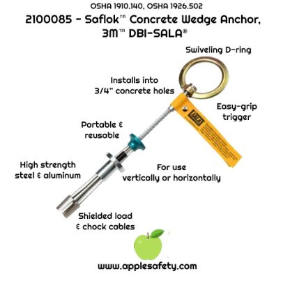 2100085 ANCHOR,CONCRETE,REUSABLECABLE D Reusable Concrete Anchor, Quick-Connect Type