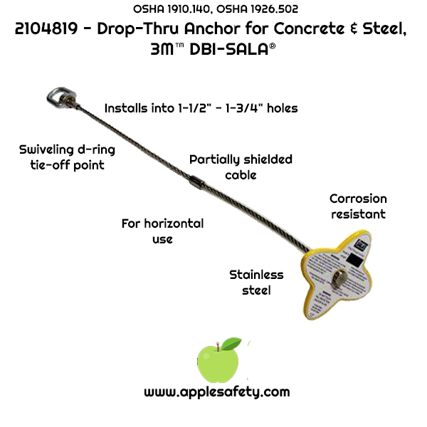 2104819	ANCHOR,CONCRT,DROP-THRU2' SWIVEL-D,ANCHOR	2 ft. (0.6 m) drop-thru anchor with swiveling D-ring for concrete and steel, fits 1-1/2 in. to 1-3/4 in. dia. hole	ANCHOR DEVICES & SYSTEMS