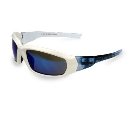 452408 Blue Mirror lens, White Graphic frame