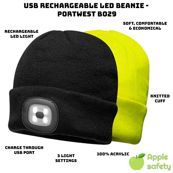 LED light rechargeable through USB port 3 Settings: Bright, Dim, and Blinking 100% Knitted Acrylic Knitted cuff improves durability Durable Flexible Economical