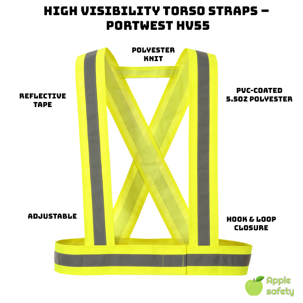 1″ Reflective Tape     Solid material improves durability     Hook and loop closure     Extremely adjustable     100% PVC-coated Polyester, 5.5oz.