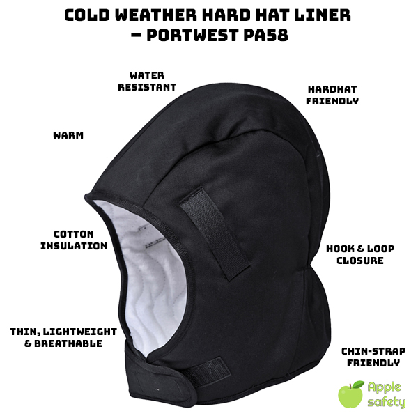 100% cotton insulated liner     Compatible with all hard hats     Hook & Loop closure allows for a secure fit     Can be worn with a chin strap     Thin, warm and comfortable.