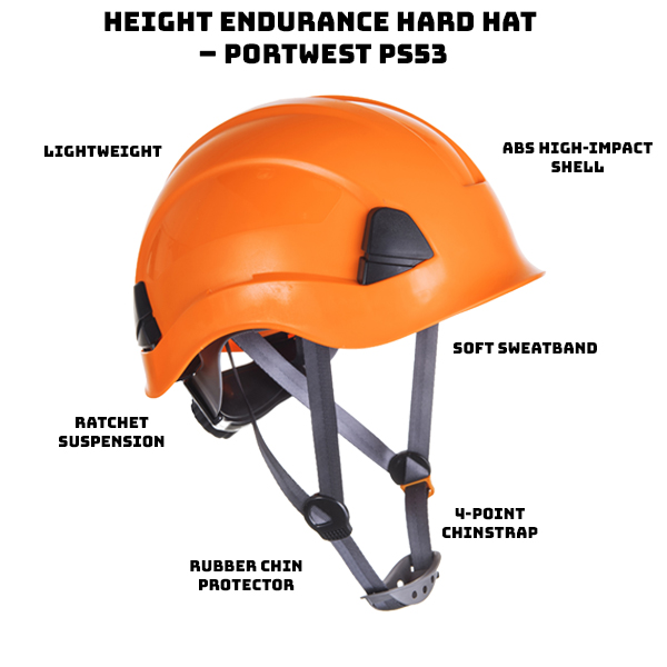 Lightweight, comfortable and compact ABS high impact shell 4-point textile comfort harness Soft sweatband and 4-point chinstrap Soft rubber chin protector Ratchet suspension can be adjusted from 20.5″ to 24.4″. ANSI/ISEA Z89.1 Type I Class E
