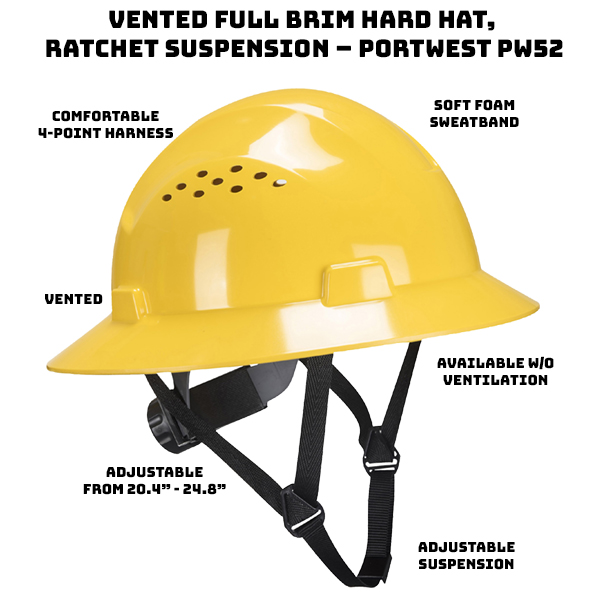 Vented to improve air flow and prevent sweat and discomfort Protects against sun, glare, rain and debris Extra comfortable 4-point nylon harness Adjustable ratchet wheel for a secure fit Soft foam sweatband to protect eyes Adjustable from 20.4″ to 24.8″ ANSI/ISEA Z89.1 Type I Class C Available without ventilation for use in cold environments.