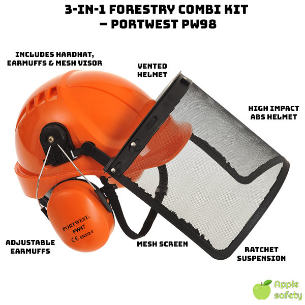Includes Hard Hat, Clip-on Earmuffs and Mesh Visor High impact ABS helmet Vented helmet for breathability Adjustable earmuffs for a secure fit and better performance Mesh screen to protect face against swarf and debris Ratchet suspension can be adjusted from 22.1″ to 24.8″