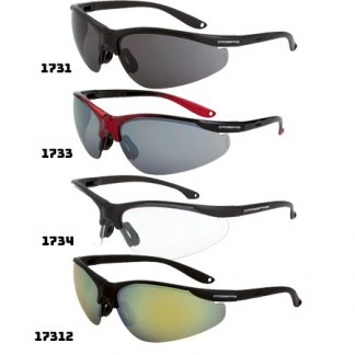 1734 Clear lens, matte black frame 1731 Smoke lens, matte black frame 1733 Silver mirror lens, shiny black/red frame 17312 Gold mirror lens, black frame