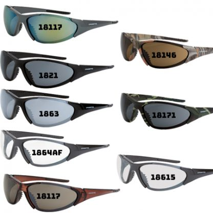 18146 HD brown lens, woodland camo frame 18117 HD brown flash mirror lens, crystal brown 181212 gold mirror lens, emerald pearl frame 18615 indoor/ outdoor lens, shiny black frame 1863 silver mirror lens, shiny black frame 1821 smoke lens, matte black frame 18171 smoke lens, military green camo frame 1864AF clear lens anti-fog, shiny pearl gray