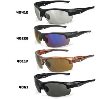 40117 HD Brown Lens, Crystal Brown Frame 40228 Blue Mirror Lens, Matte Black Frame 4061 Smoke Lens, Shiny Black Frame 40412 Indoor/Outdoor Lens, Shiny Black Frame