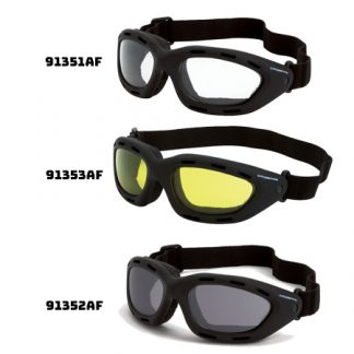 91351 AF Clear anti-fog lens, black frame 91352 AF Smoke anti-fog lens, black frame 91353 AF Yellow anti-fog lens, black frame