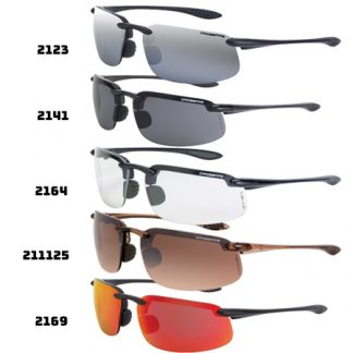 2123 Silver mirror lens, shiny black frame 211125 HD brown flash mirror, crystal brown 2141 Smoke lens, crystal black frame 2164 Clear lens, shiny pearl gray frame 2169 HD red mirror lens, matte black frame 21427 Silver mirror Polarized, crystal black