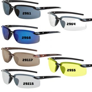2964 Clear lens, shiny pearl gray frame 2961 Smoke lens, pearl black frame 29117 HD brown flash mirror, crystal brown 29215 Indoor/outdoor lens, matte black frame 2968 Blue mirror lens, shiny black frame
