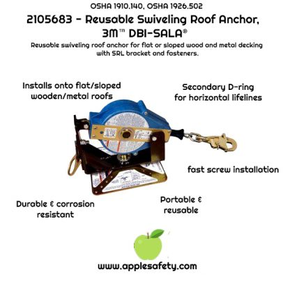 Installs onto sloped or flat & wood or metal roofs Secondary D-ring anchor point for horizontal lifelines Fast screw installation Durable and corrosion resistant Portable and easy to re-use, 3M™ DBI-SALA® Reusable Swiveling Roof Anchor 2105683, 1 EA