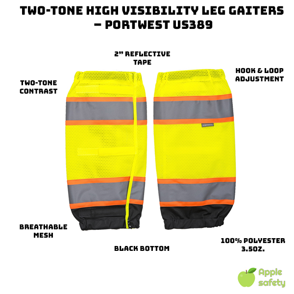 Two-tone contrast around tape improve visibility     2″ Reflective tape     Breathable mesh fabric     Prevents heat exhaustion, sweat and discomfort     Black bottom hides dirt     Adjustable Hook & Loop     100% Polyester, 3.5oz.