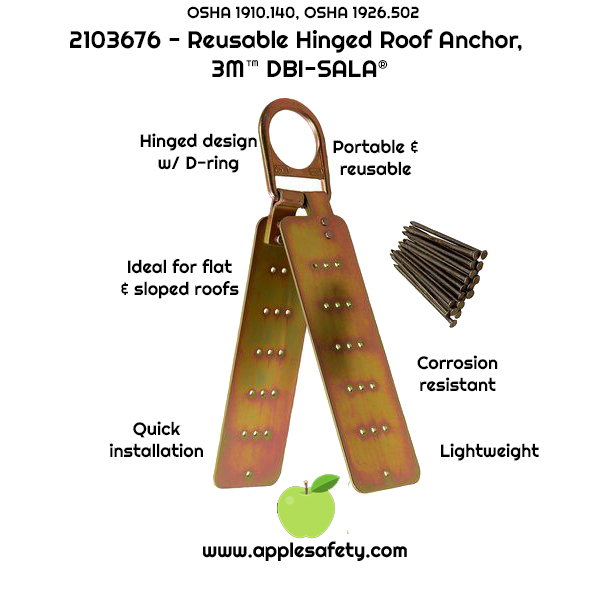 Installs onto sloped or flat wood and metal decking roofs Quick nail and screw installation Hinged design with D-ring Durable and corrosion resistant Compact and lightweight Portable and easy to re-use