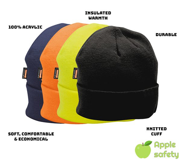 100% Knitted Acrylic Insulated lining traps in heat Knitted cuff improves durability Durable Flexible Economical