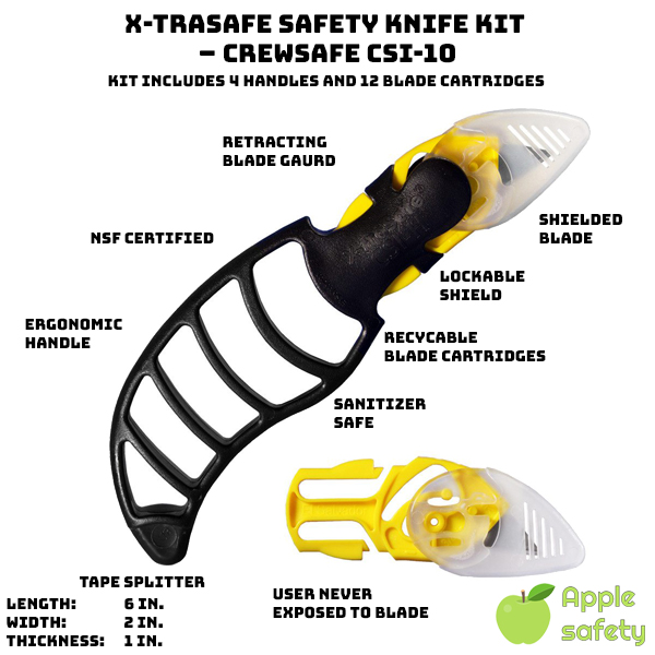 Kit includes 4 handles and 12 blade cartridges Spring-activated blade guard closes after each cut Blade guard can be manually locked when not in use 100% Stainless Steel Blades - FDA Compliant Environmentally friendly blade cartridges Lightweight and ergonomic handle Dishwasher & Sanitizer Safe Built-in tape splitter CSI-10 Cartridge Blades, 12 Pack