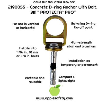 """2190055 - Concrete D-ring anchor for 11/16"""", 18 mm or 3/4"""" hole with swiveling D-ring, applesafety infographic"""