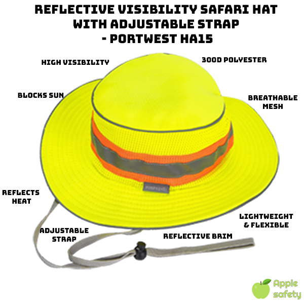 Reflective Visibility Safari Hat with Adjustable Strap – Portwest HA15