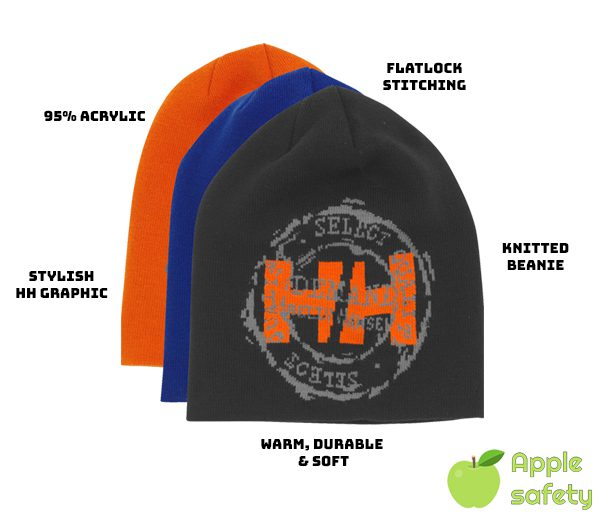 Knitted Beanie 95% Acrylic; prized for its excellent weatherability, tensile strength and resistance to shrinkage. Available in Orange, Racer Blue or Charcoal Flatlock Stitching Stylish HH Graphic Branding