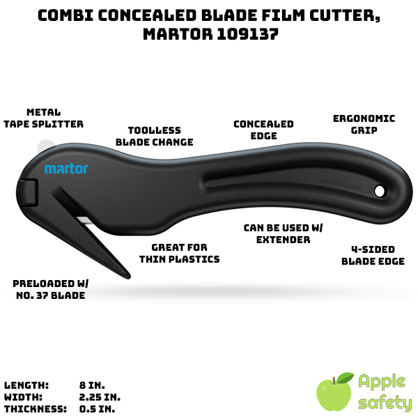 Concealed blade prevents personal injury and damaged goods Each blade can be used 4 times, minimizing costs Ergonomic handle keeps cutting hand strong Blade change is quick and easy Unique metal tape splitter Uses the number 37 replacement blades