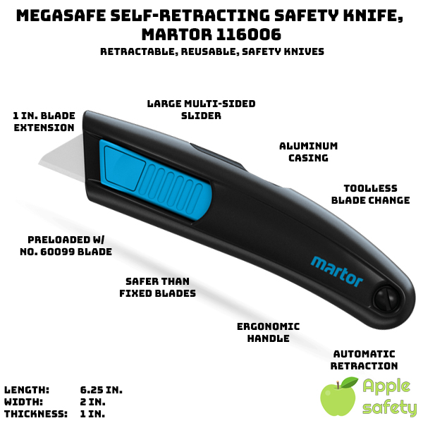 """Fully automatic retractable blade for safety - a SMART safety knife Ergonomically friendly ambidextrous slider mechanism to engage the blade Heavy duty body made of aluminum Safer alternative to fixed blade utility knives for general cutting tasks Just under 1"""" of blade extension Easy, tool free blade change Preloaded with No.60099 Blade"""