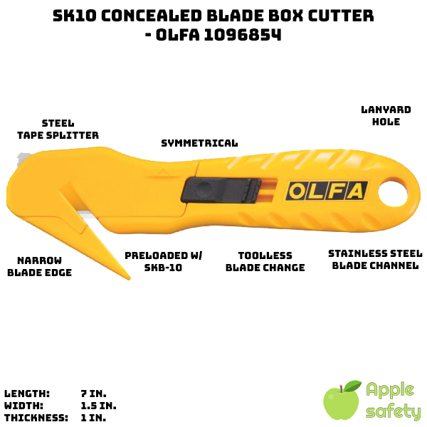 Continual blade exposure within a durable stainless steel blade channel Symmetrically shaped, acetone-resistant handle Built-in stainless steel tape splitter No tool blade change Convenient lanyard hole Pre-loaded with a four-point SKB-10 safety blade