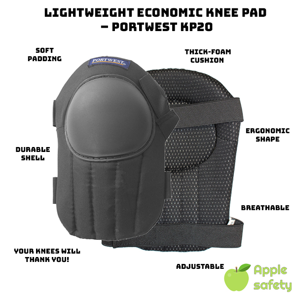 Lightweight shell improves comfort and wearability Tough outer shell protects against impacts, abrasion and wear Breathable fabric allows fresh air to circulate Prevents sweaty knees Soft thick foam cushion simulates a pillow for your knee Fantastic ergonomic, adjustable kneepad at an economic value