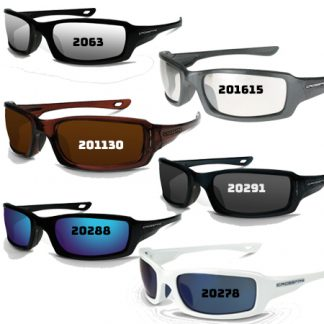 20288 Blue mirror lens, metallic blue frame 20291 Smoke lens, crystal black frame 201130 Silver mirror on brown, crystal brown 2063 Silver mirror lens, pearl black frame 201615 I/O lens, pearl gray frame 20278 Blue mirror lens, white frame