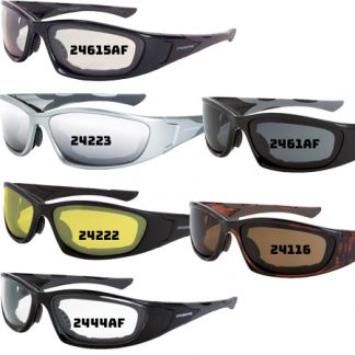 2444AF clear anti-fog lens, crystal black frame 2461AF smoke anti-fog lens, shiny black frame, foam lined 24116AF HD brown anti-fog lens, crystal brown frame, foam lined 24223 silver mirror lens, shiny chrome frame, foam lined 24222AF yellow anti-fog lens, matte black frame, foam lined 24615AF i/o anti-fog lens, shiny pearl gray frame, foam lined
