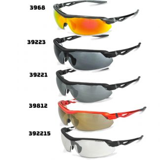 3968 Red Mirror Lens, Shiny Black Frame 39812 Gold Mirror Lens, Burnt Orange Frame 39223 Silver Mirror Lens, Matte Black Frame 39221 Smoke Lens, Matte Black Frame 392215 Indoor/Outdoor Lens, Matte Black Frame