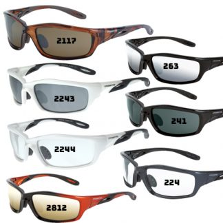 241 Smoke lens, crystal black frame 224 Clear lens, shiny pearl gray frame 2254 Clear lens, pearl pink frame 2244 Clear lens, pearl white frame 2243 Silver mirror lens, pearl white frame 2117 HD brown mirror lens, crystal brown 22528 Dark smoke lens, pearl pink frame 263 Silver mirror lens, shiny black frame 2812 Gold mirror lens, orange/black frame