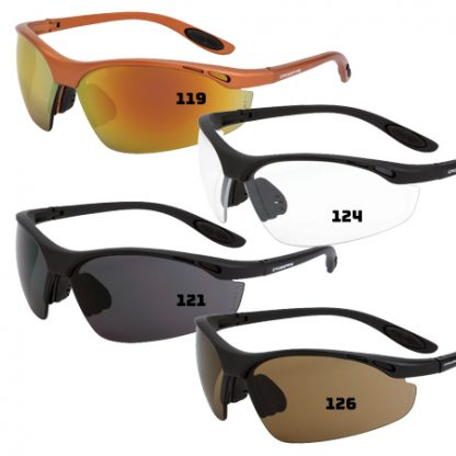 124 Clear lens, matte black frame 119 Red mirror lens, copper frame 121 Smoke lens, matte black frame 126 HD brown flash mirror, matte black