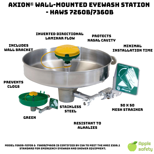 Model 7360B-7460B, wall mounted, stainless bowl, eye/face wash with AXION® MSR eye/face wash head. AXION® Wall-mounted Eyewash Station - HAWS 7260B/7360B