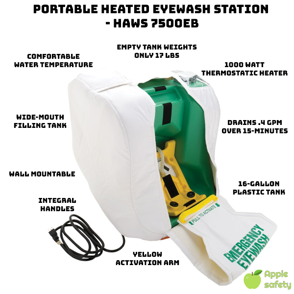"The ""7500EB - Portable Self Contained Heated Eyewash"" is ideal for isolated locations. This product uses gravity to supply a continuous flow (0.4gpm) of clean water to injured personnel for 15 minutes. The 7500's full patterned flushing feature makes this product viable even in sub freezing temperatures. Features a FDA approved high-density green polyethylene tank, which is easily activated by pulling the yellow activation arm into the 'open' position. Relocation is simple, the empty weight of this tank is only 17 lbs and can hand or wall mounted."