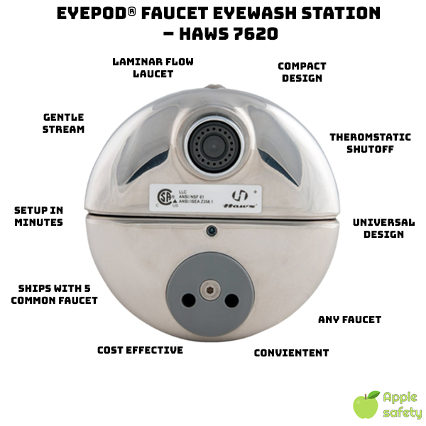 "eyePOD® Faucet Eyewash Station  – HAWS 7620 - The ""7620 AXION® eyePOD®"" faucet mounted eyewash features a revolutionary inverted flow design, providing a medical response consistent with all EMT, Emergency Room and Doctor's Offices."