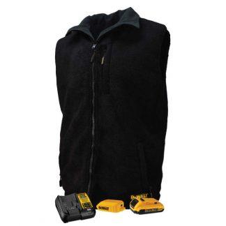 DEWALT Men's Heated Reversible Fleece Vest Kitted Black