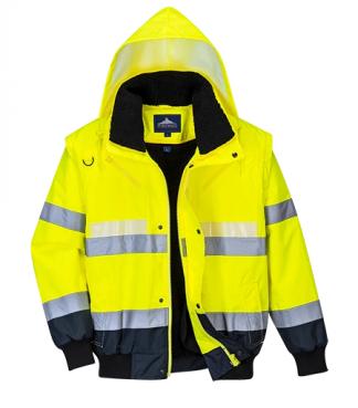 US465 Portwest Glowtex 3in1 Bomber Jacket Hi Vis Visability Coat Safety Work Wear Protective